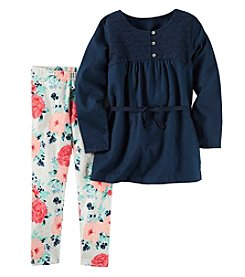 Carter's® Girls' 4-8 2-Piece Belted Tunic And Floral Leggings Set
