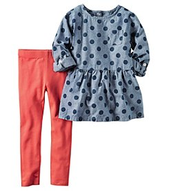 Carter's® Girls' 2T-8 2-Piece Dotted Chambray Top And Leggings Set