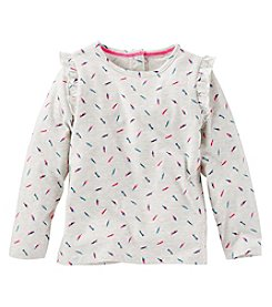 OshKosh B'Gosh® Girls' 2T-4T Long Sleeve Watercolor Feathers Tee