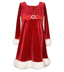 Bonnie Jean® Girls' 7-16 Long Sleeve Glittered Santa Dress