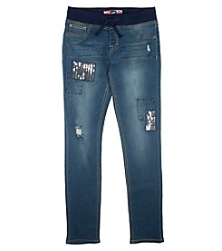 Lee® Girls' 7-16 Sequin Patchwork Pull-On Jeans