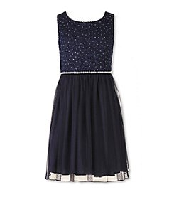 Speechless® Girls' 7-16 Sparkle Lace Fit And Flare Dress
