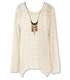 Speechless® Girls' 7-16 Long Sleeve Layered Sweater with Necklace