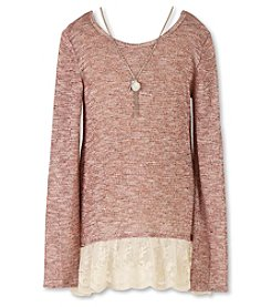 Speechless® Girls' 7-16 Long Sleeve Lace Trim Top with Necklace