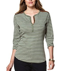 Chaps® Plus Size Striped Cotton Henley