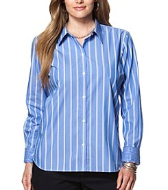 Chaps® Plus Size Non-Iron Striped Cotton Shirt
