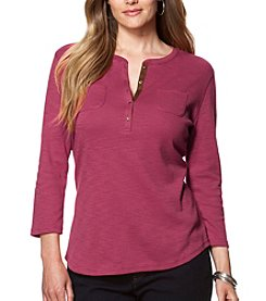 Chaps Plus Size Ribbed Cotton Henley