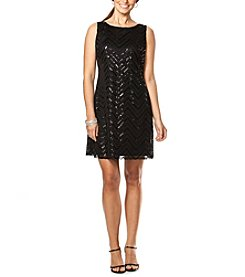 Chaps® Sequined-Mesh Dress