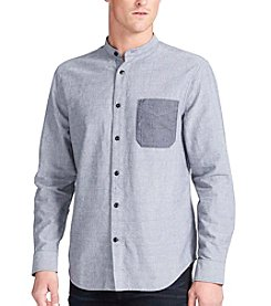 William Rast® Men's Wyatt Stand Collar Long Sleeve Button Down Shirt