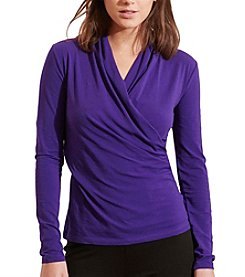 Lauren Ralph Lauren® Faux-Wrap Jersey Top