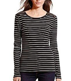 Lauren Ralph Lauren® Striped Zip-Shoulder Top
