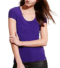 Lauren Ralph Lauren® Stretch Cotton Scoopneck Tee