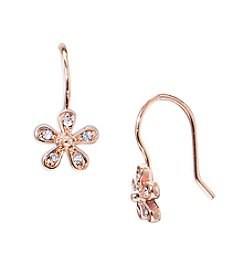 Lauren Ralph Lauren® Rose Goldtone Social Small Crystal Flower Pierced Earrings