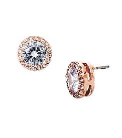 Lauren Ralph Lauren® Rose Goldtone Social Halo Crystal Stud Pierced Earrings