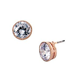 Lauren Ralph Lauren® Rose Goldtone Social Crystal Stud Pierced Earrings