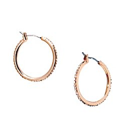 Lauren Ralph Lauren® Rose Goldtone Social Medium Pave Hoop Pierced Earrings