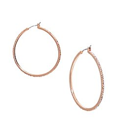 Lauren Ralph Lauren® Rose Goldtone Social Large Pave Hoop Pierced Earrings