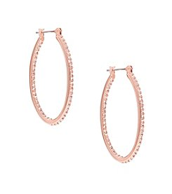 Lauren Ralph Lauren® Rose Palais Large Oval Pave Hoop Pierced Earrings