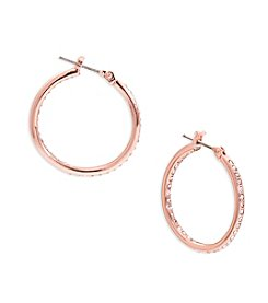 Lauren Ralph Lauren® Rose Palais Small Round Pave Hoop Pierced Earrings