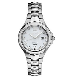 Seiko® Women's Courtura Solar Silvertone Watch with Diamond Accents