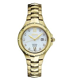 Seiko® Women's Courtura Solar Goldtone Watch with Diamond Accents