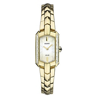 Seiko® Women's Tressia Solar Goldtone Watch with Diamond