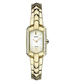 Seiko® Women's Tressia Solar Goldtone Watch with Diamond Accents