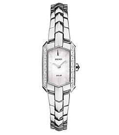 Seiko® Women's Tressia Solar Silvertone Watch with Diamond Accents