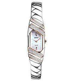 Seiko® Women's Tressia Solar Silvertone Watch with Rose Goldtone Highlights and Diamond Accents