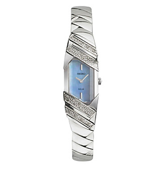Seiko® Women's Tressia Solar Silvertone Watch with Mothe