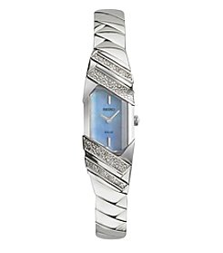Seiko® Women's Tressia Solar Silvertone Watch with Mother of Pearl Dial and Diamond Accents