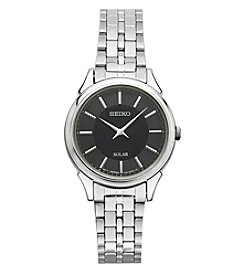 Seiko® Women's Slimline Solar Silvertone Watch with Black Dial