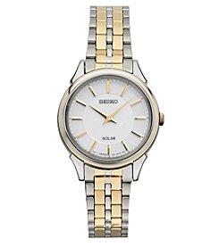 Seiko® Women's Slimline Solar Goldtone Watch with White Dial