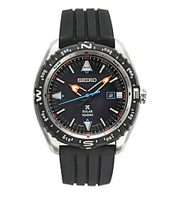 Seiko® Men's Prospex Solar Watch with Black Silicone Strap and Black Dial