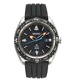 Seiko® Men's Prospex Solar Watch with Black Silicone Strap and Black Dial