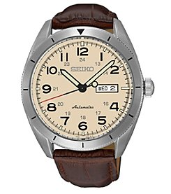 Seiko® Men's Automatic Watch wih Brown Leather Strap and Cream Dial