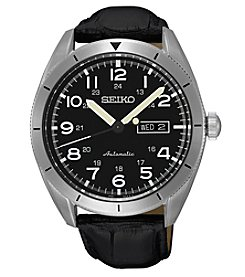 Seiko® Men's Automatic Watch with Black Leather Strap and Black Dial