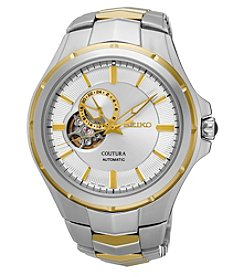 Seiko® Men's Courtura Automatic Two-Tone Watch with Silver Dial