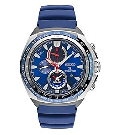 Seiko® Men's Prospex World Time Solar Chronograph Watch with Power Reserve