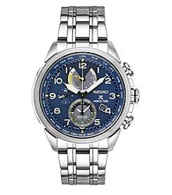 Seiko® Men's Prospex World Time Solar Silvertone Watch with Blue Dial