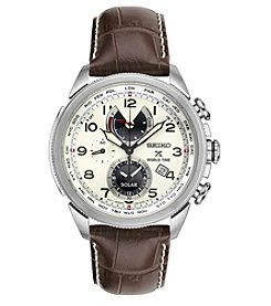 Seiko® Men's Prospex World Time Solar with Brown Leather Strap and Cream Dial