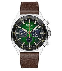 Seiko® Men's Recraft Solar Chronograph with Brown Leather Strap and Green Dial