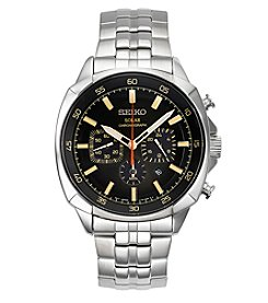 Seiko® Men's Recraft Solar Chronograph Silvertone with Grey Dial