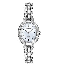 Seiko® Women's Tressia Solar Silvertone with Diamond Accents
