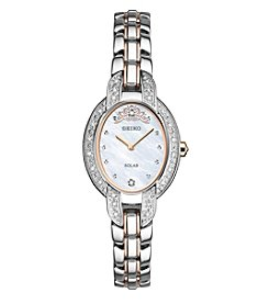 Seiko® Women's Tressia Solar Limited Edition with Diamond Accent and Rose Goldtone Hightlights