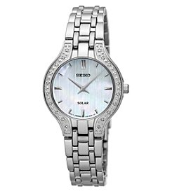 Seiko® Women's Solar Silvertone with Diamond Accents