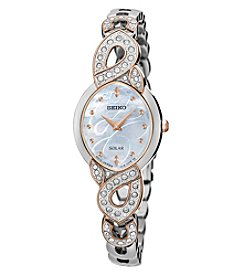 Seiko® Women's Solar Silvertone with Rose Goldtone Highlights and Swarovski Crystal Accents
