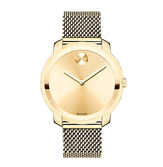 Movado Bold Gold Tone Watch with Mesh Strap