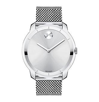 Movado Bold Bold Silver Tone Watch with Mesh Steel Bracelet