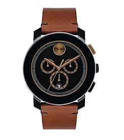 Movado Bold® Men's Bold Chronograph Leather Strap Watch
